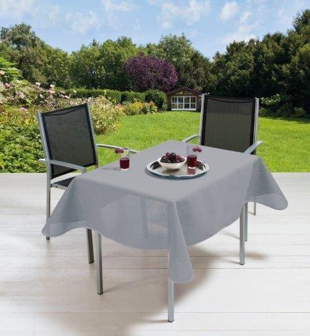 Gartentischdecke Milano mit Rautenpräge, Lilac Grey Oval auf Maß